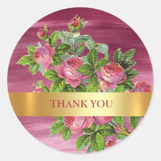 Thank You  Vintage Peony Wedding Pink Aquarelle Round Sticker