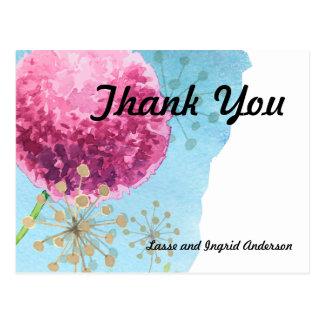 Thank you watercolor Allium floral Postcard