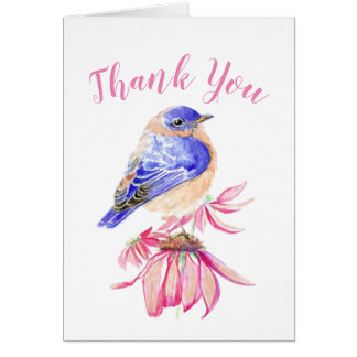 Thank You Watercolor Bluebird Scripture Bird Art Card