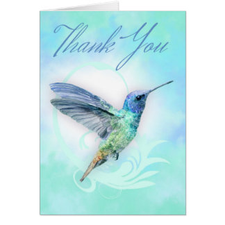 Thank You - Watercolor Hummingbird Print Card
