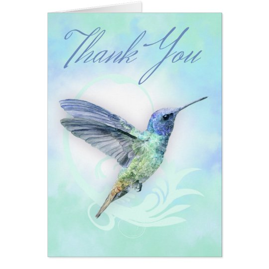 Thank You - Watercolor Hummingbird Print Card