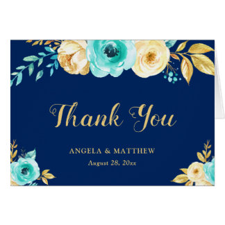 Thank You - Watercolor Navy Blue Teal Gold Floral Card