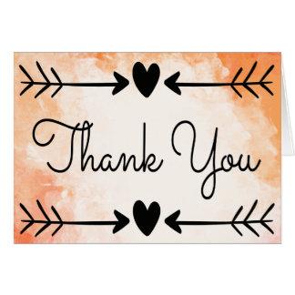 Thank You Watercolor Orange Black Heart Love Arrow Card