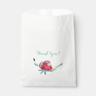 Thank you watercolor rose flower Favor Bag