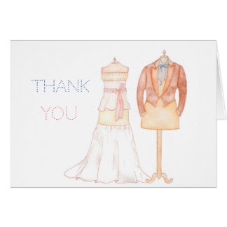 Thank You watercolour wedding note with words Card