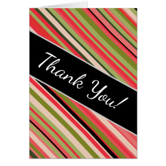 """""""Thank You!"""" + Watermelon-Inspired Stripes Card"""
