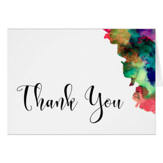 Thank You Wedding Black Type Colorful Watercolor 3 Card