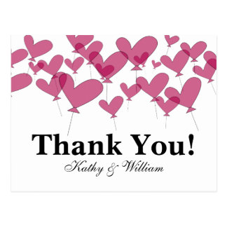 Thank you wedding cards with red heart balloons postcard