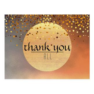 Thank You Wedding Confetti Glitter Sunset Moon Postcard