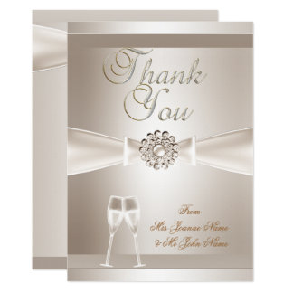 Thank You Wedding Damask Cream White Champagne Card