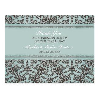 Thank You Wedding Damask Postcard