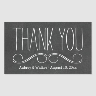 Thank You Wedding Favor Black Chalkboard Stickers