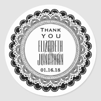 Thank You Wedding Favor Label BLACK A02 Round Stickers