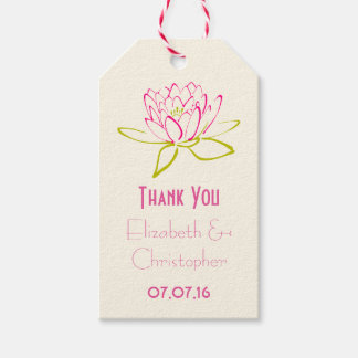 Thank You Wedding Favor Lotus Flower Pack Of Gift Tags