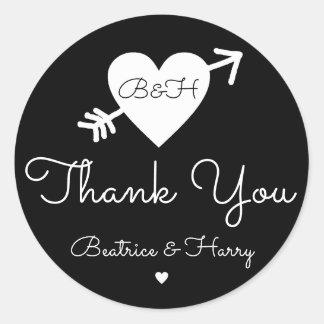thank you . wedding favour black/white round sticker