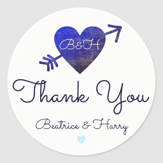 thank you . wedding favour bluish classic round sticker