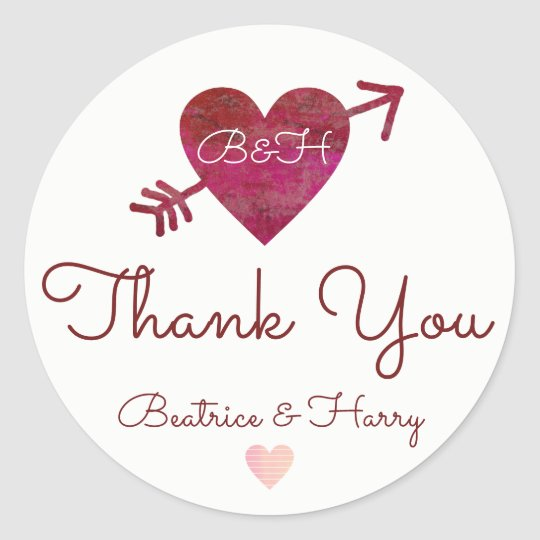 thank you . wedding favour red classic round sticker