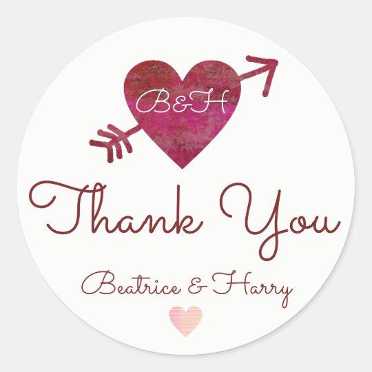 thank you . wedding favour red round sticker