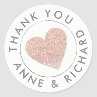thank you / wedding favour rose classic round sticker
