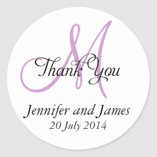 Thank You Wedding Favour Stickers Monogram Purple
