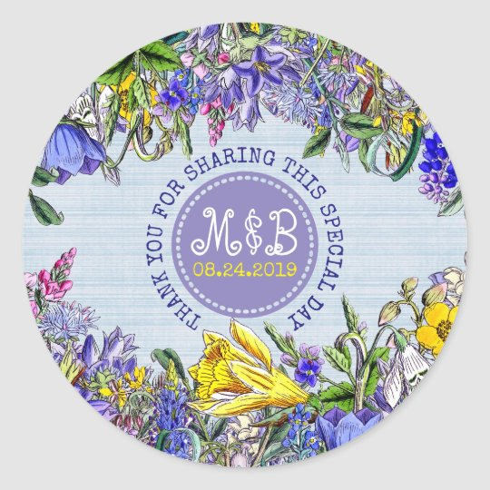 Thank You Wedding Favour Wildflowers Vintage Classic Round Sticker