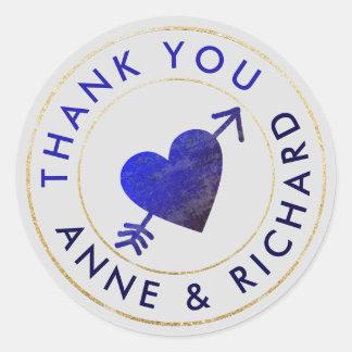 thank you . wedding favours, blue round sticker