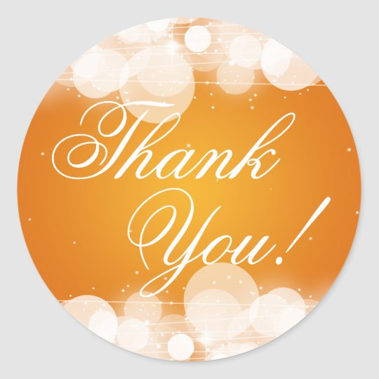Thank You Wedding Glow & Sparkle Orange Classic Round Sticker