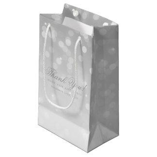 Thank You Wedding Gold Bokeh Sparkle Lights Small Gift Bag