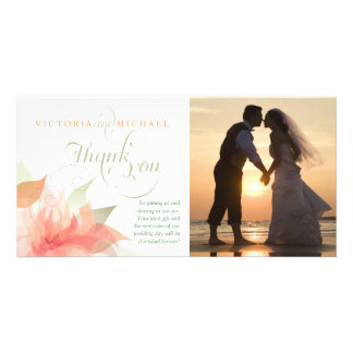 Thank You Wedding Photo Card - Orange Ice White