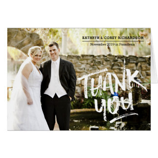 Thank You Wedding Photo Hand Lettered Brush Style Card