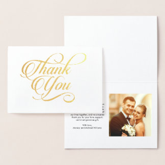 Thank You Wedding Photo Modern Stylish Script Foil Card