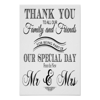 Thank you wedding sign black and white poster