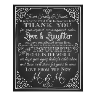 Thank you wedding sign Black & White chalkboard Poster