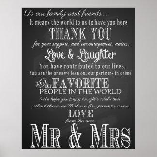 Thank you wedding sign Black & White chalkboard Poster