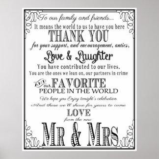 Thank you wedding sign Black & White Poster
