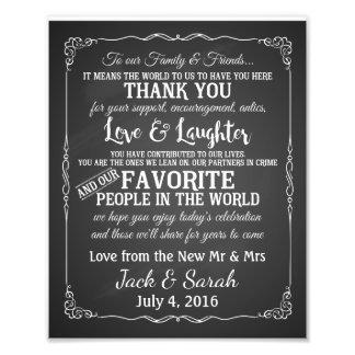 Thank you wedding sign customised chalkboard