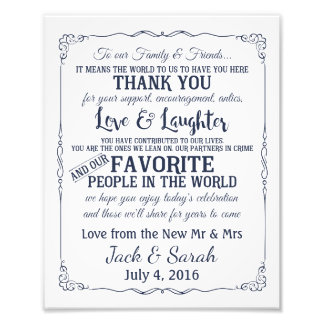 Thank you wedding sign customised navy photo art