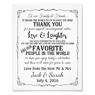 Thank you wedding sign customised photo