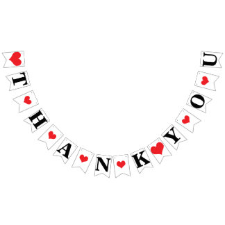 THANK YOU ❤ WEDDING SIGN DECOR BUNTING FLAGS