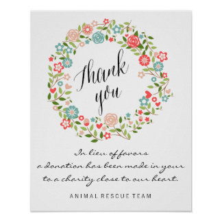 Thank you wedding sign   Floral   bothanical Poster
