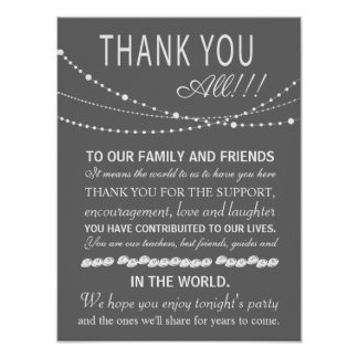 Thank you wedding sign or card - party lights posters
