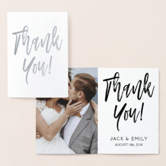 Thank You Wedding Silver Foil Photo Card