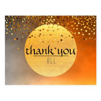 Thank You Wedding Sunset Moon Confetti Glitter Postcard