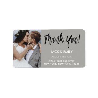 Thank You Wedding White & Black Script Photo Label