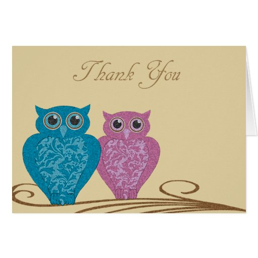 Thank You Whimsical Owls Card