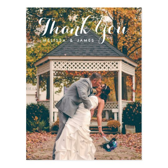 Thank You Whimsical Wedding Photo Postcard