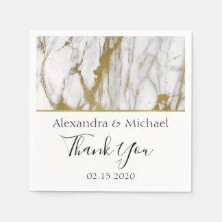 Thank You White and Gold Elegant Marble Paper Napkin