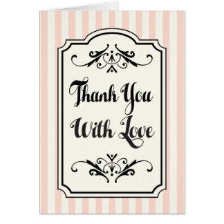 Thank You White Blush & Pink Stripe Love Wedding Note Card