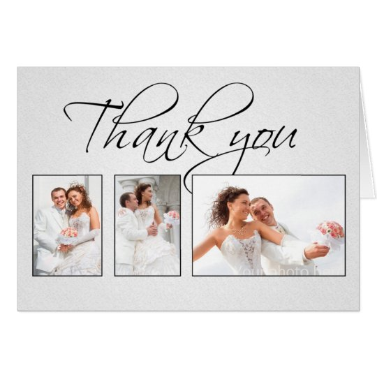 thank you white photos wedding card