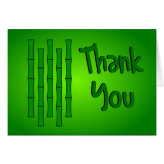 Thank You With Bamboo Design--Green Shading Card